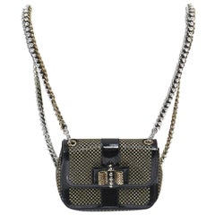CHRISTIAN LOUBOUTIN Sweet Charity gold stud patent flap crystal chain backpack