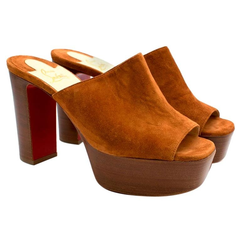 Christian Louboutin Tan 100 Suede Platform Mules 39 For Sale