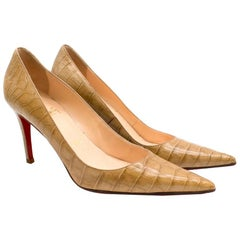 Christian Louboutin Tan Crocodile Embossed Pointed Toe Pumps 38