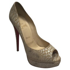 Christian Louboutin Tan & Metallic Snake Platform Peep toe Pumps - 41