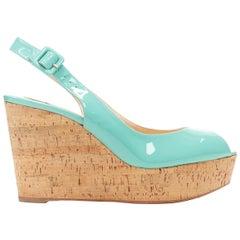 CHRISTIAN LOUBOUTIN teal green patent peep toe sling back cork wedge heel EU37