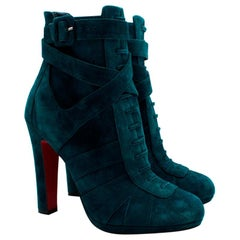 Christian Louboutin Teal Suede Lace-Up Ankle Boots - Size 39