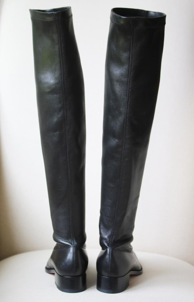 Women's Christian Louboutin Theophila Leather Over-the-Knee Boots For Sale