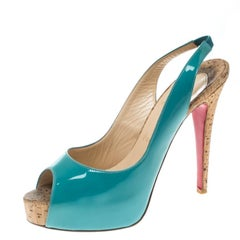 Christian Louboutin Tiffany Blue Patent Leather So Private Slingback Cork Sandal