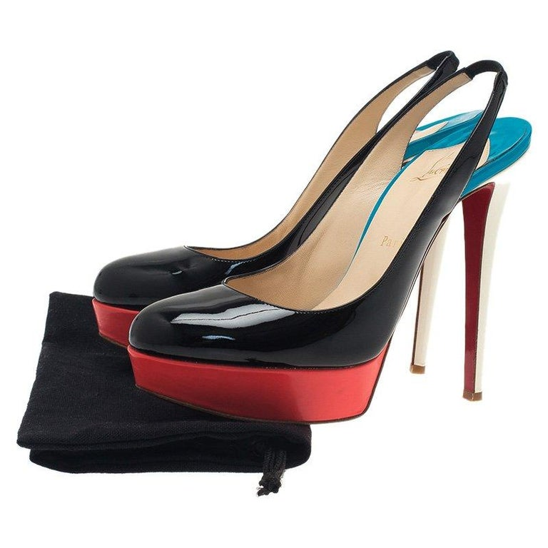 a2fe2a91a76 Christian Louboutin Tricolor Patent Bianca Platform Slingback Sandals Size  39