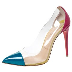 Christian Louboutin Tricolor Patent Leather And PVC Pointed Toe Pumps Size 38