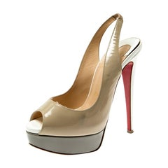 Christian Louboutin Tricolor Patent Leather Slingback Sandals Size 35.5