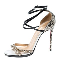 Christian Louboutin Tricolor Splatter Print Patent Leather and Suede Monocronana