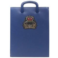 CHRISTIAN LOUBOUTIN Trictrac blue crest studded leather side zip portfolio bag