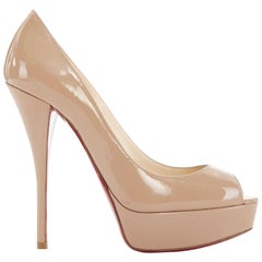 CHRISTIAN LOUBOUTIN Troca 140 nude patent peep toe platform pumps EU36.5 US6.5