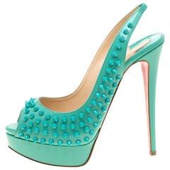 Christian Louboutin Turquoise Lady Peep Toe Spike Slingback Sandals Size  39