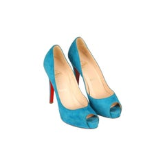 CHRISTIAN LOUBOUTIN Turquoise Suede Open Toe Shoes Vendome120 Heels 36.5