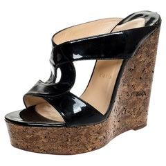 Christian Louboutin Twist Patent Leather Cork Platform Wedge Sandals Size 39.5