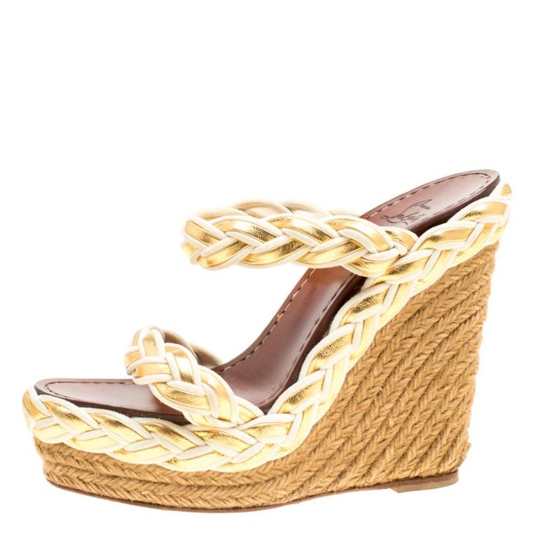 402823b021e Christian Louboutin Two Tone Braided Leather and Suede Espadrille Wedge  Sandals