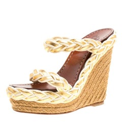 Christian Louboutin Two Tone Braided Leather and Suede Espadrille Wedge Sandals
