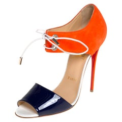 Christian Louboutin Two Tone Patent Leather and Suede Sandals Size 39.5