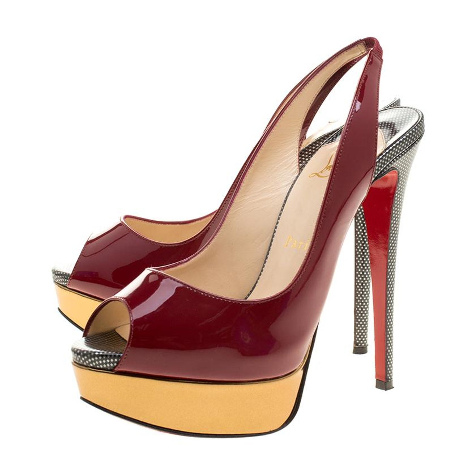 913213d81 Christian Louboutin Two Tone Patent Leather Lady Peep Toe Slingback Sandals  Size For Sale at 1stdibs