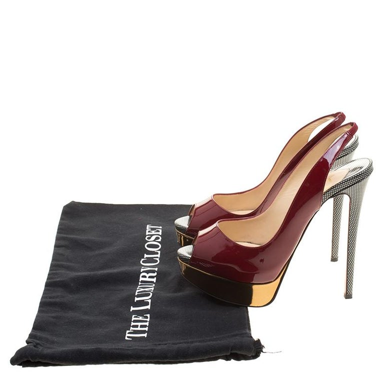 info for 14b23 a40e8 Christian Louboutin Two Tone Patent Leather Lady Peep Toe Slingback Sandals  Size