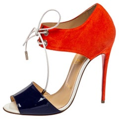 Christian Louboutin Two Tone Patent Leather Mayerling Lace-Up Sandals Size 37