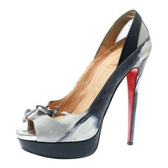 Christian Louboutin Two Tone Printed Suede Bow Detail Peep Toe Pumps Size 40