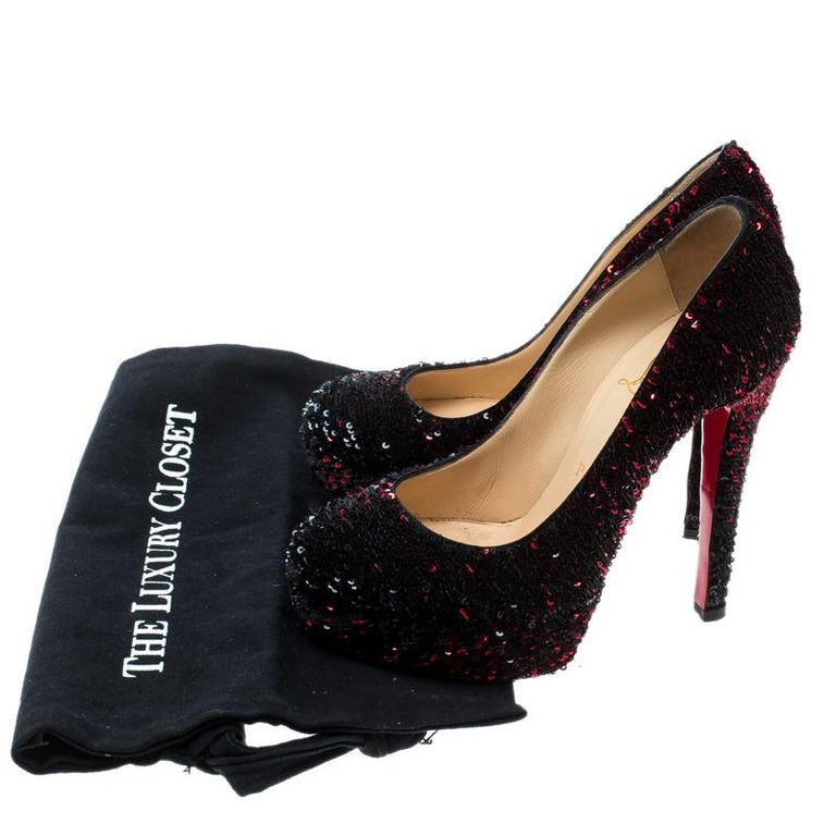 Christian Louboutin Two Tone Sequins Bianca Platform Pumps Size 36 For Sale 3