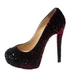 Christian Louboutin Two Tone Sequins Bianca Platform Pumps Size 36