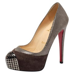 Christian Louboutin Two Tone Textured Suede Maggie Cap Toe Pumps Size 35