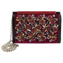 Christian Louboutin Vanite Clutch Velvet with Floral Applique Mini