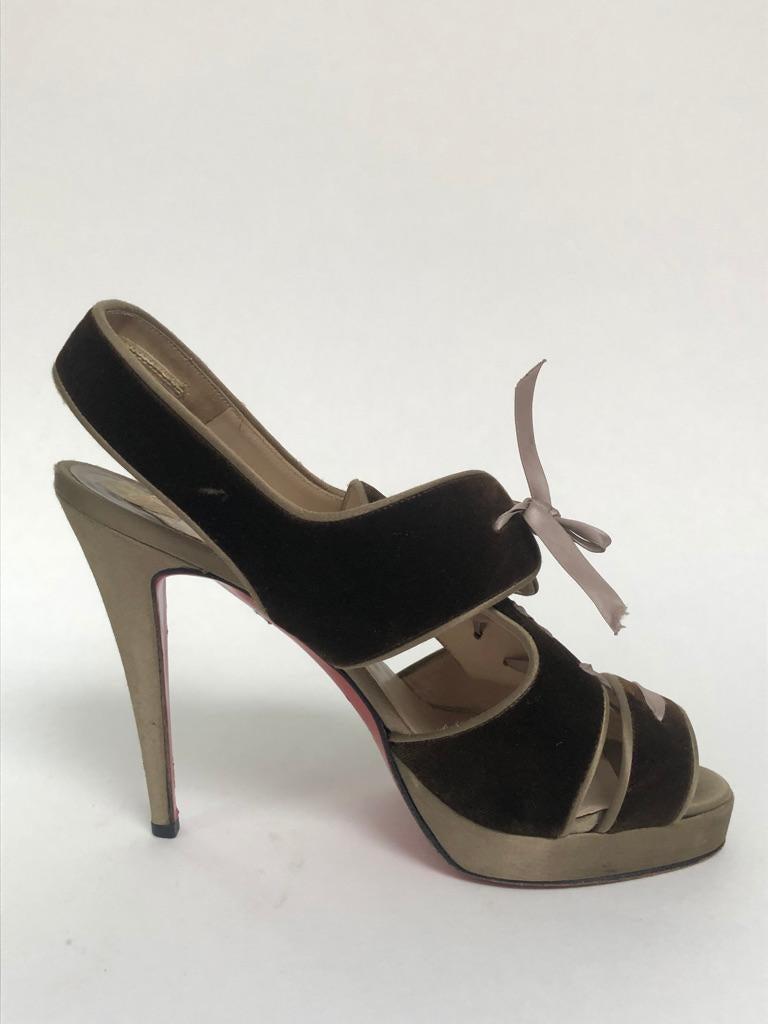Velvet lace up peep toe sling back with satin heel/platform