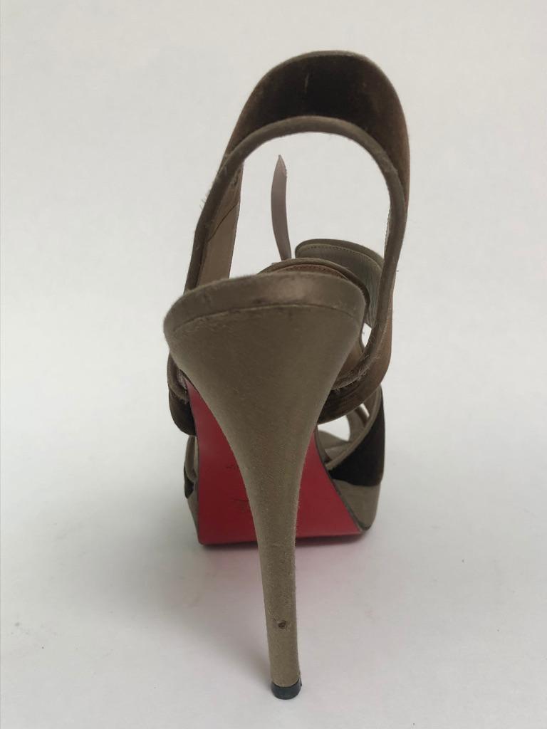 Black CHRISTIAN LOUBOUTIN Velvet lace up sandals For Sale