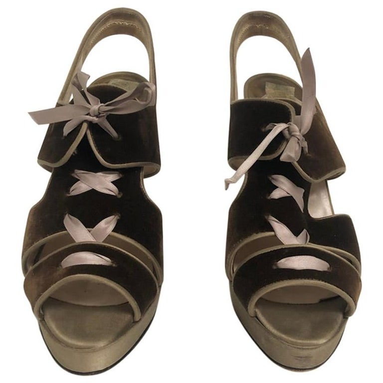 CHRISTIAN LOUBOUTIN Velvet lace up sandals For Sale