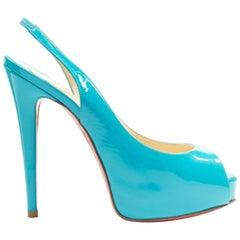 CHRISTIAN LOUBOUTIN Vendome Sling 120 teal patent leather peep toe heels EU36.5