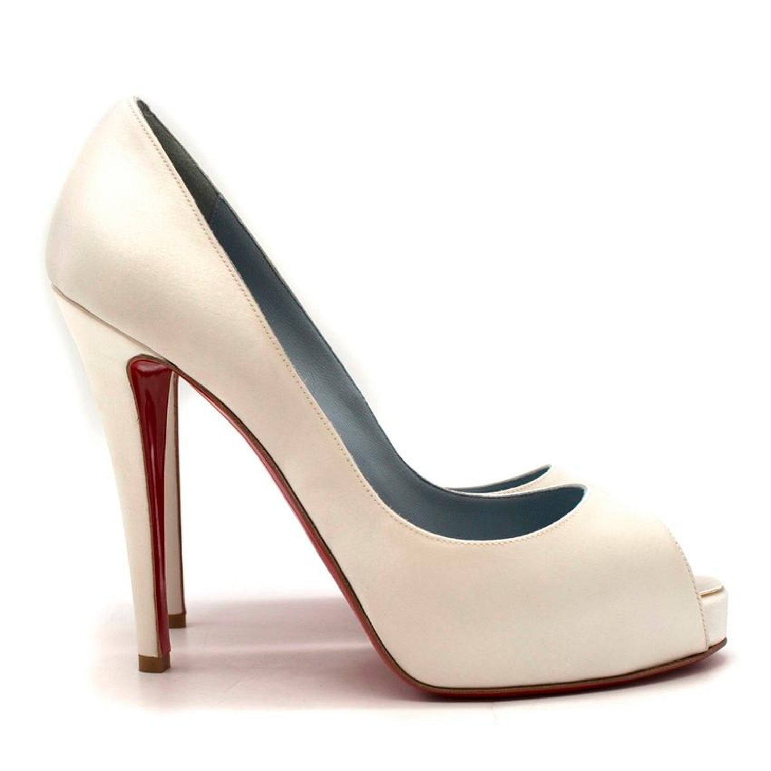 43f3123958f Christian Louboutin Very Prive 120mm off-white satin pumps US 8.5 For Sale  at 1stdibs