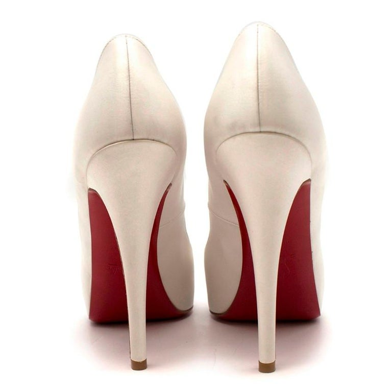 6bfe4e5de57 Gray Christian Louboutin Very Prive 120mm off-white satin pumps US 8.5 For  Sale