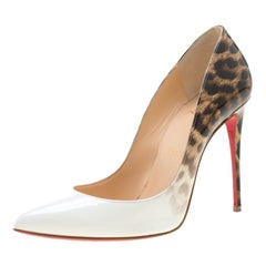 Christian Louboutin White And Leopard Print Patent Leather Pigalle Follies Pumps