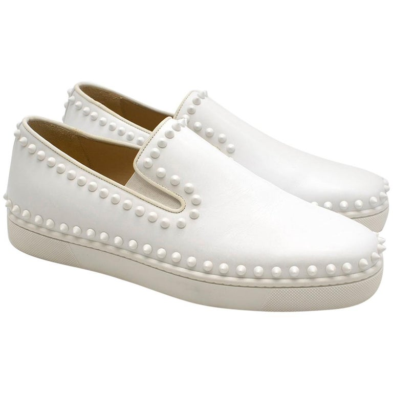 énorme réduction 03c03 9406b Christian Louboutin White Cador studded leather slip-on sneakers Fr 41