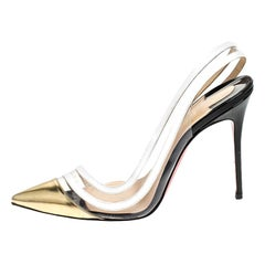 Christian Louboutin White/Gold Leather And PVC Paralili D'orsay Pumps Size 40