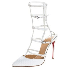 Christian Louboutin White Leather Kadreyana Strappy Sandals Size 36.5