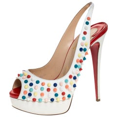 Christian Louboutin White Leather Lady Peep Spikes Slingback Sandals Size 38