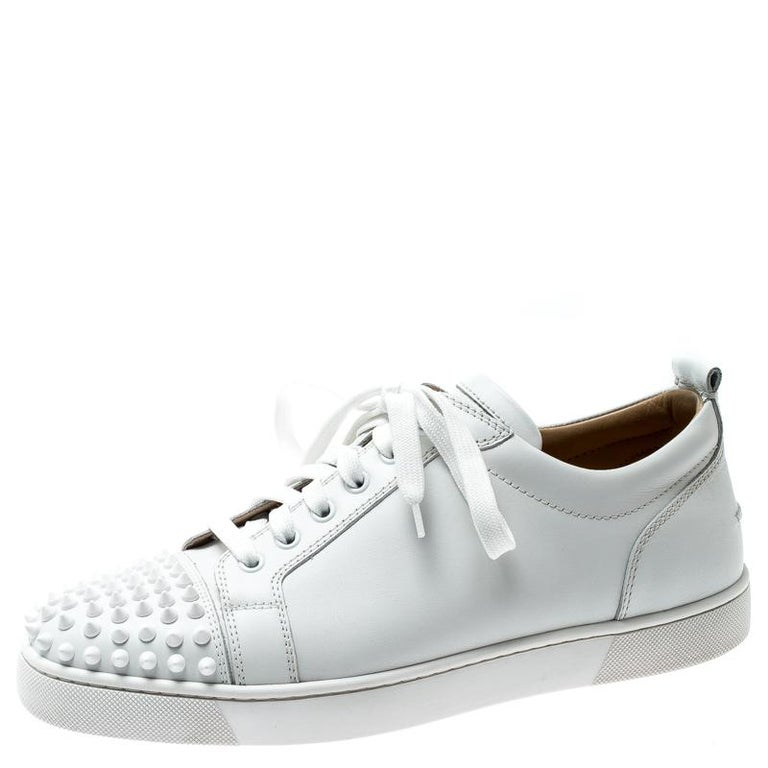 best loved f8f54 f49ac Christian Louboutin White Leather Louis Junior Spikes Sneakers Size 42