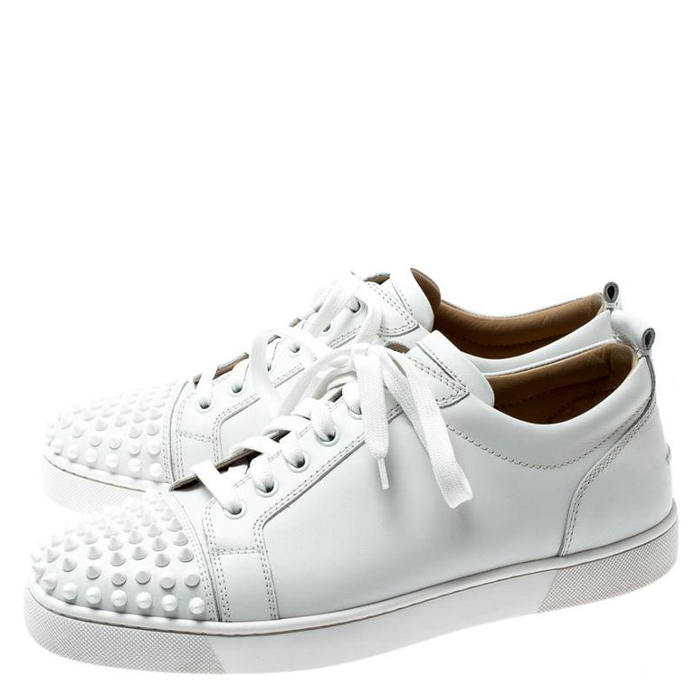 best loved b3dce efe61 Christian Louboutin White Leather Louis Junior Spikes Sneakers Size 42