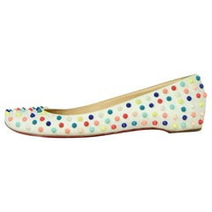 Christian Louboutin White Leather Multicolor Gozul Spikes Flats sz 41