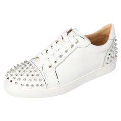 Christian Louboutin White Leather Vierissima Spikes Sneakers Size 39