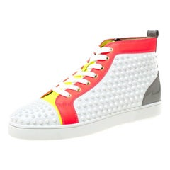 Christian Louboutin White Leather With Louis Spikes High Top Sneakers Size 45