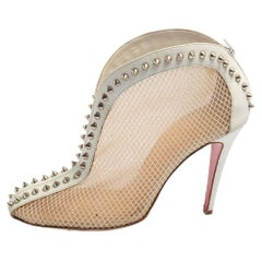 Christian Louboutin White Mesh And Leather Spike Studded Booties Size 39