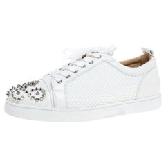 Christian Louboutin White Mesh Fabric and Leather Louis Junior Spikes Size 43.5