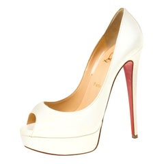 Christian Louboutin White Patent Leather New Very Prive Peep Toe Pumps Size 39