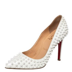 Christian Louboutin White Patent Leather Pigalle Follies Spikes Pumps Size 37
