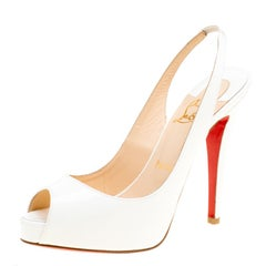 81e10640cc7b Christian Louboutin White Patent Leather Very Prive Slingback Sandals Size  37