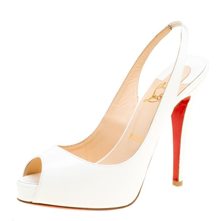 0fbfe39d77b Christian Louboutin White Patent Leather Very Prive Slingback Sandals Size  37 For Sale 1